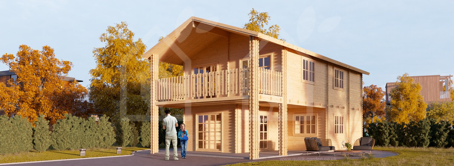 Summer two story log cabin Bordeaux 26