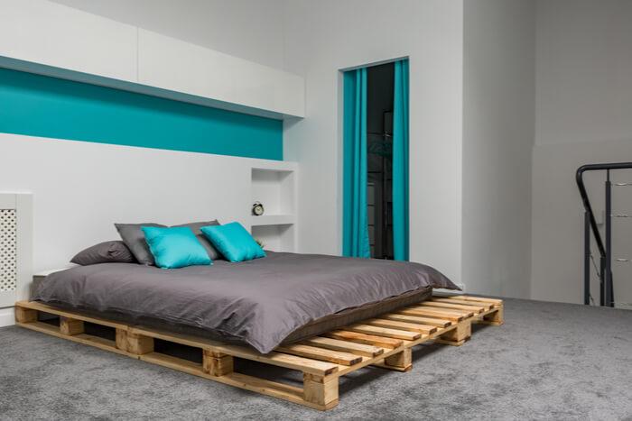 Pallet Beds in a log cabin!
